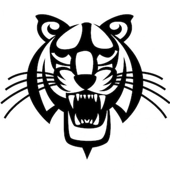 Black tiger head vector illustration