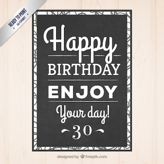 Black typographic birthday invitation