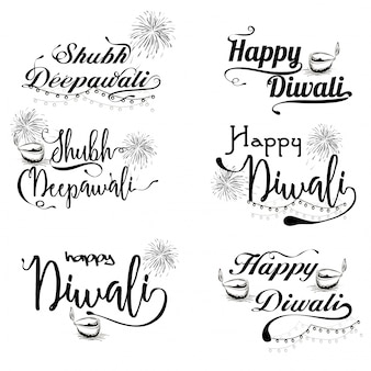 Black Typographic collection for Happy Diwali.
