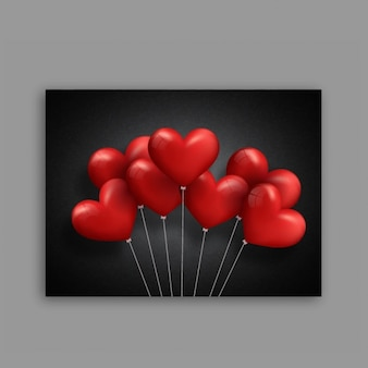 Black valentine's card with red heart-shaped balloons
