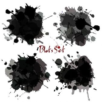 Black watercolor blot set