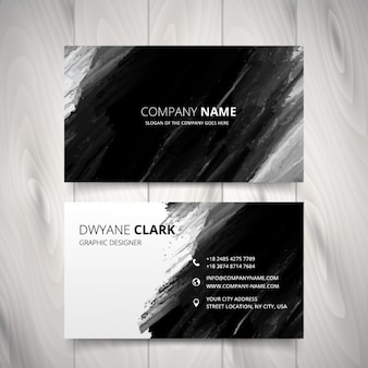 Black watercolor business card