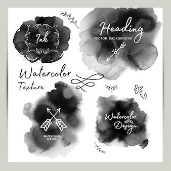 Black watercolor texture set