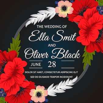Black wedding card with red flowers