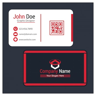 Black, White and Red Rounded Edges Business Card