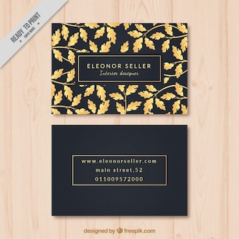 Black with golden elements business card