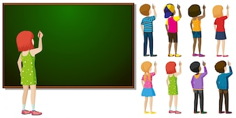 Blackboard and different character in writing action illustration