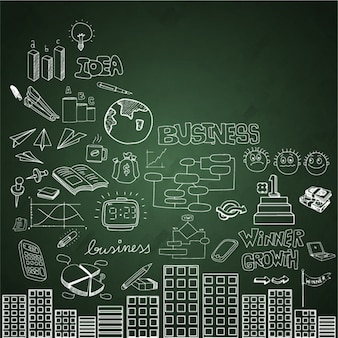 Blackboard background with buildings and business items