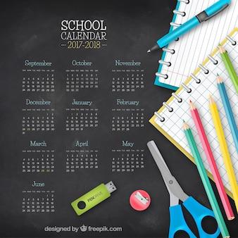 Blackboard background with calendar 2017-2018