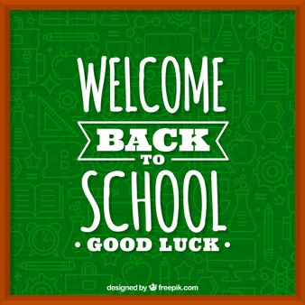 Blackboard background with text  welcome back to school