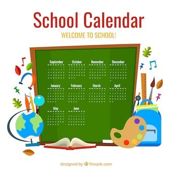 学校の要素と黒板のカレンダー