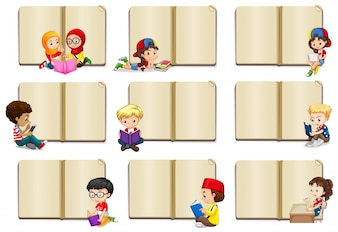 Blank book templates with kids illustration