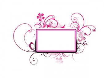 Blank frame with ornamental floral decoration