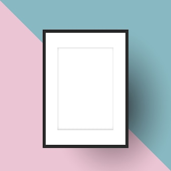 Blank picture frame on a two tone background