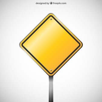 Blank warning road sign
