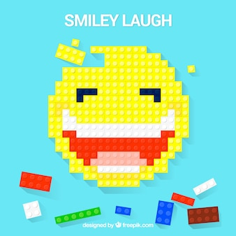 Blocks background with smiley design