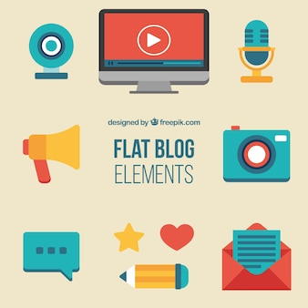 Blog element collection in flat design