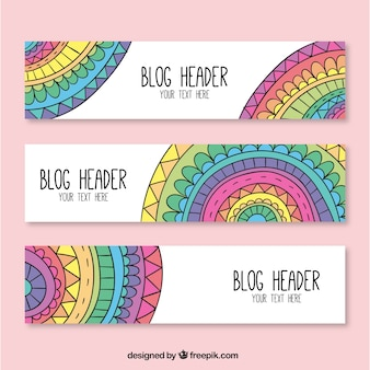 Blog headers with colorful mandalas