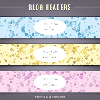 Blog headers with splashes