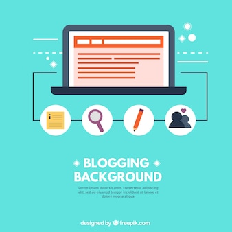 Blogging background with elements in flat design
