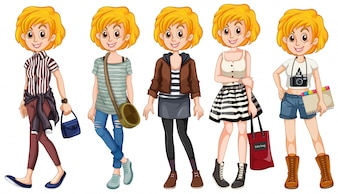 Blonde girl in different costumes