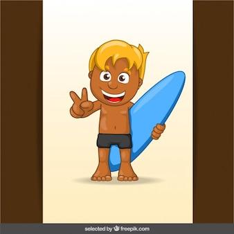 Blonde surfer cartoon