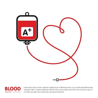 Blood donation bag with tube shaped heart background
