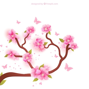 Blooming branches background
