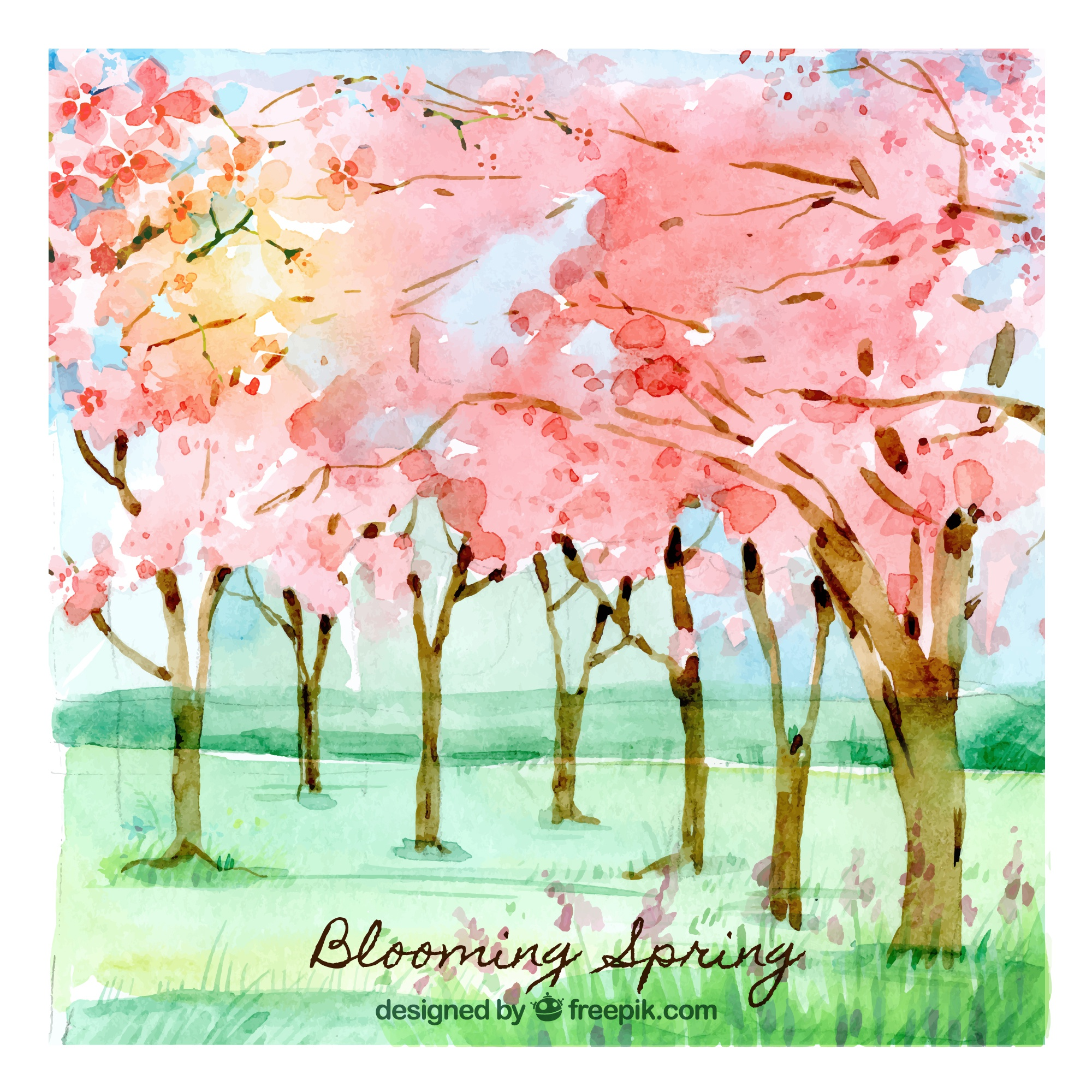 Blooming spring background in watercolor style