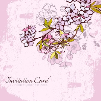 Blossom cherry or sakura invitation postcard vector illustration