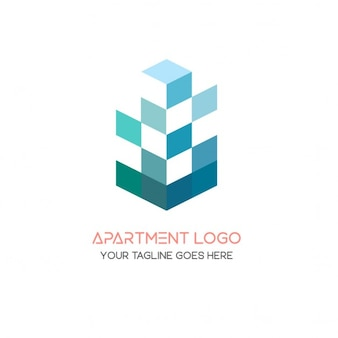 Blue 3d geometric logo