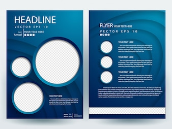 Blue A4 Brochure Layout template  with circle photo placeholder