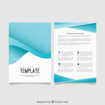 Blue abstract business flyer