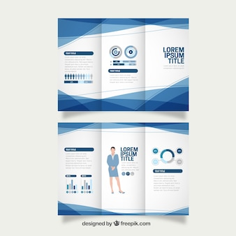 Blue abstract business trifold