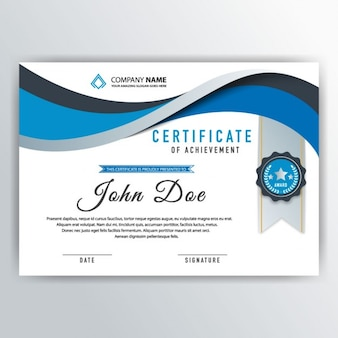 Blue abstract certificate