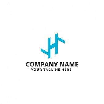 Blue abstract shape logo template