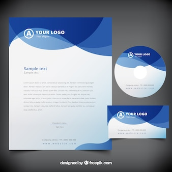 Blue abstract waves business stationery