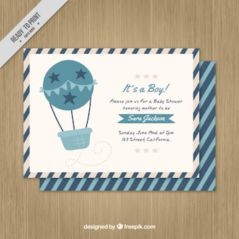 Blue air balloon baby card
