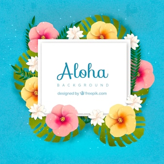 Blue aloha background with floral decoration