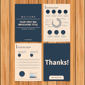 Blue and beige business brochure collection