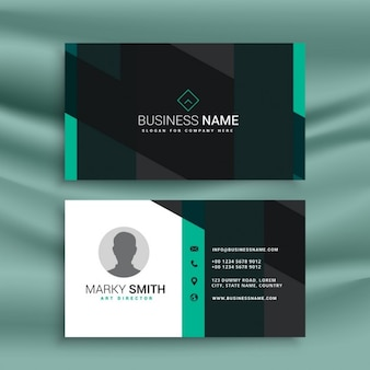 Blue and black business card with geometric shapes
