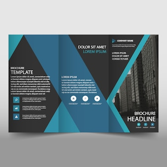 Blue and dark trifold business brochure template