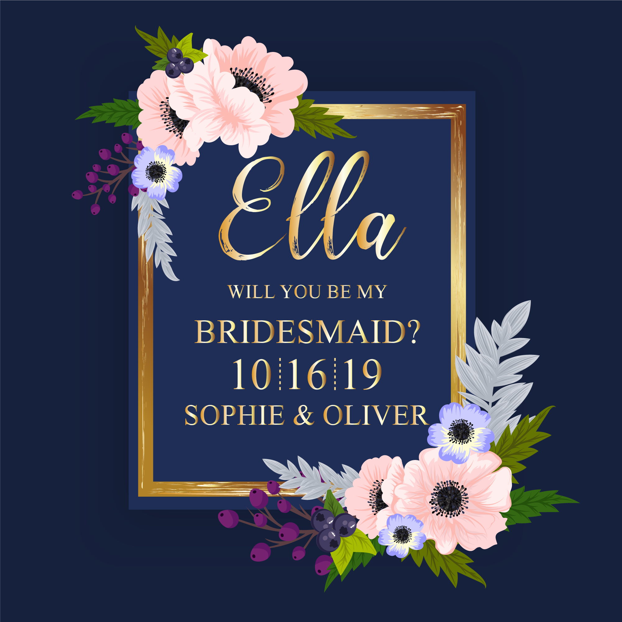 Blue and gold wedding card with flowers