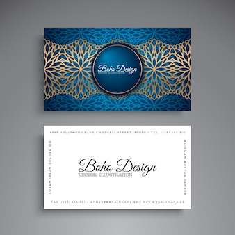 Blue and golden business card with mandala decoration