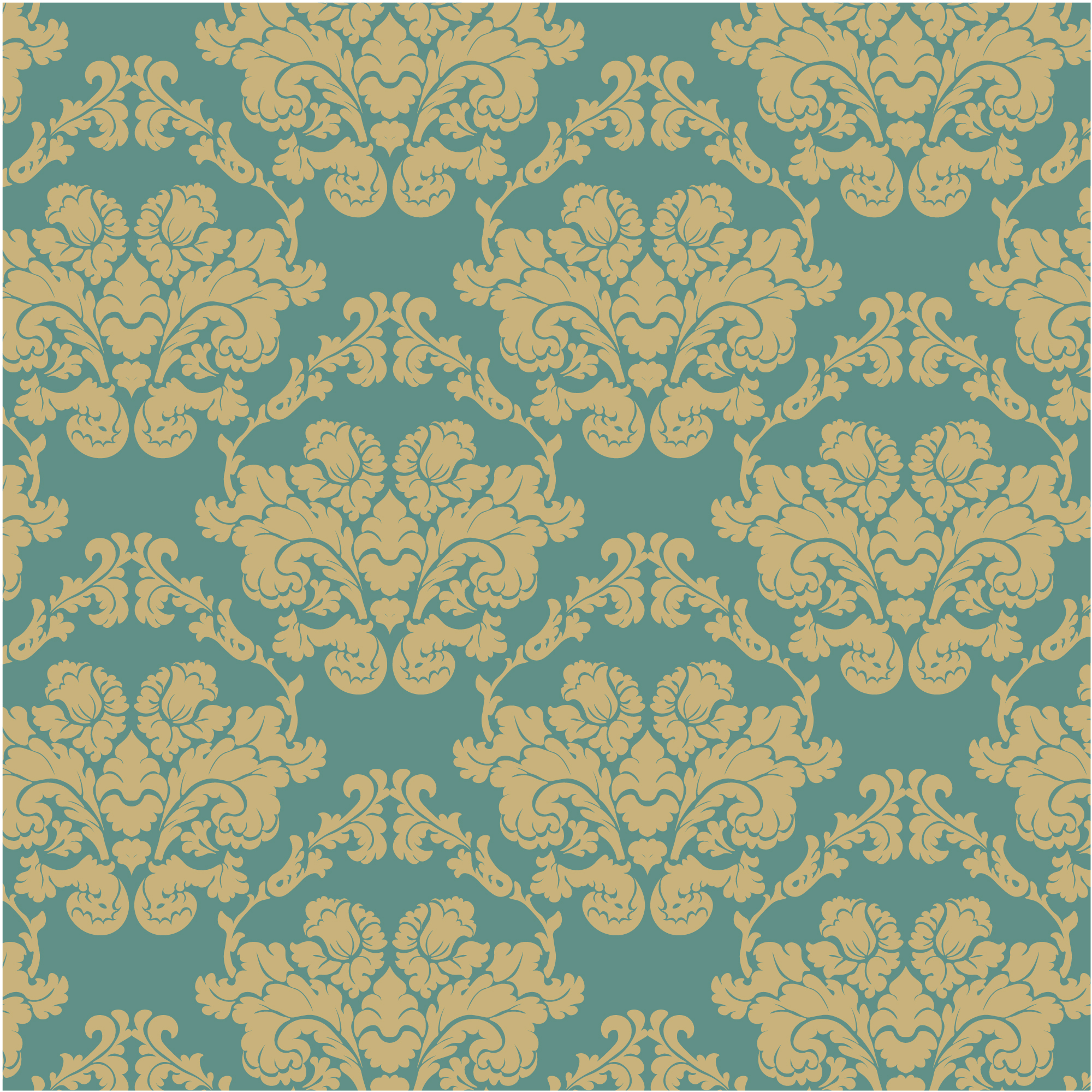 Blue and golden ornamental pattern background