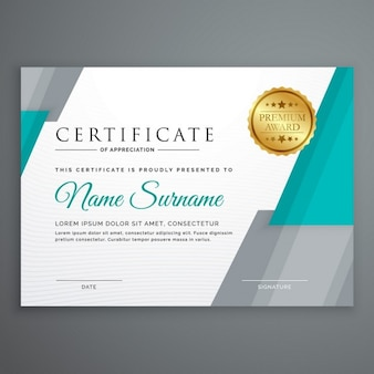 Blue and gray certificate with a golden seal