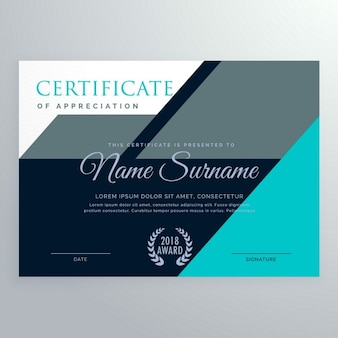 Blue and gray certificate with geometric shapes