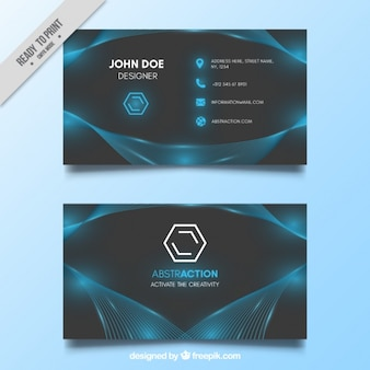 Blue and gray shiny business card