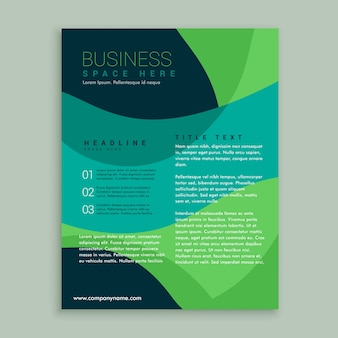 Blue and green brochure with wavy shapes