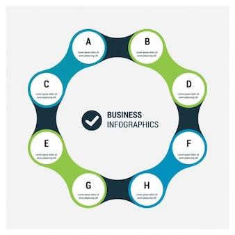 Blue and green circular infographics